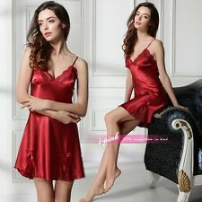 New Sexy Women Pajamas Faux Silk Robe Sleepwear Set Nightdress Nightgown dress