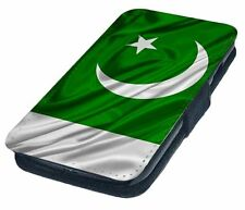 Pakistan Flag Waving Printed Faux Leather Flip Phone Cover Case