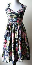 Anthropologie ARYEH vintage navy floral dress--sweetheart neckline & full skirt