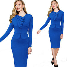 Womens Elegant OL Fake piece pleated collar Evening Party Cocktail pencil Dress