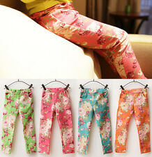 Hot New Kids Toddlers Clothes Girls Floral Leggings Tights Pants Trousers Sz2-7Y