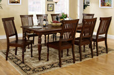 Solid Wood Dining Table with 8 Chairs Dark Walnut