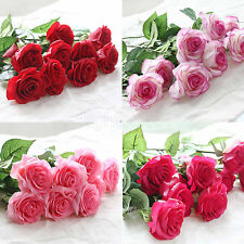 Hot Artificial Rose Flowers Head Real Touch Latex For Wedding Bouquet Decoration