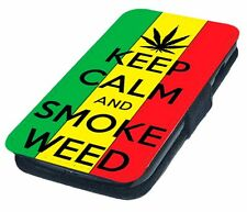 Keep Calm and Smoke Weed Printed Faux Leather Flip Phone Cover Case