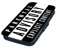 Parental Advisory Printed Faux Leather Flip Phone Cover Case