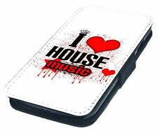 I Love House Music Printed Faux Leather Flip Phone Cover Case
