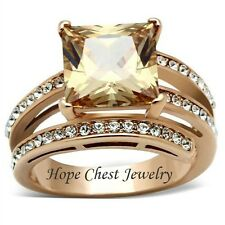 WOMEN'S ROSE GOLD TONE STAINLESS STEEL PRINCESS CUT CHAMPAGNE CZ RING SIZE 5 -10