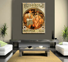 VINTAGE FRENCH CHAMPAGNE ADVERT CANVAS WALL ART
