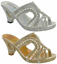 Low Cut Out Diamantes Sandals Pearl Open Toe Slip On Party Wedding Shoes 3 - 8