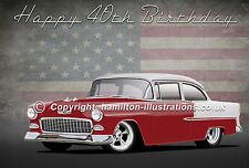 1955 Chevy MENS 18th 21st  40th 50th GREETINGS CARD PERSONALISED  FREE UK P+P
