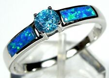 London Blue Topaz, Blue Fire Opal Inlay 925 Sterling Silver Solitaire Ring