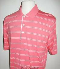 New Men's Cutter & Buck DryTec Orange & Double White Striped SS Polo Shirt L