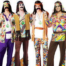 Mens Groovy Hippy Flares + Top Outfit 60s-70s Fancy Dress Hippie Adult Costume