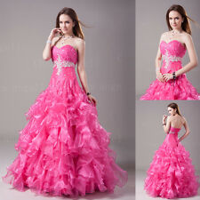 A-line New Sweetheart Organza Hot Pink Long Prom Dresses Engagement Ball Gown
