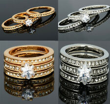 New 3-in-1 Crystal 18K White Gold Plated GP Engagement Wedding Rings