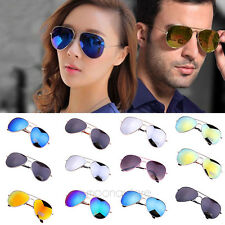 Unisex Fashion Men Women Aviator Sunglasses Reflective Lens Gold Silver Frame PJ