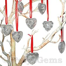 5 X ACRYLIC CRYSTAL HEARTS ON RED SATIN RIBBON - WEDDING/CHRISTMAS/VALENTINES