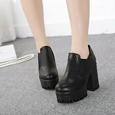 Womens High Chunky Heels Platform Cleated Sole Slip On Faux Leather Ankle Boots
