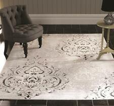 Graphic Cartouche Grey Natural Modern Designer Rug in various sizes
