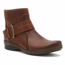 Clarks IDEO FEAST Womens Brown Leather Casual Comfort Side Zip Ankle Boots