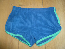 AMERICAN APPAREL LOOP TERRY TOWELLING RETRO 70S RUNNING SHORTS BLUE GREEN S XS