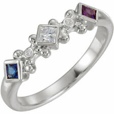 Mother's Jewelry STERLING SILVER 3-5 Princess Birthstones Mothers Ring Moms gift
