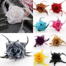 Rose Flower Feather Glitter Corsage Party Wedding Hair Clip Fascinator Hairband