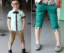 Lates Kids Toddler Boys Clothing Clothes Pure Color Trousers Pants Shorts Sz2-7Y