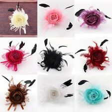 Silk Peony Flower Feather Lace Corsage Hair Clips Fascinator Hairband Brooch Pin
