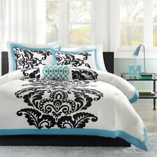 Beautiful & Modern Teal & White 4-PC Comforter Set Full/Queen King Twin NEW