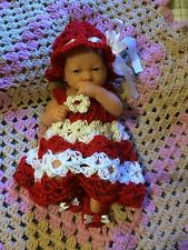 Handmade Crochet Baby Set Outfit Sassy Girl Red/White 3PC Dress Summer Hat Shoes