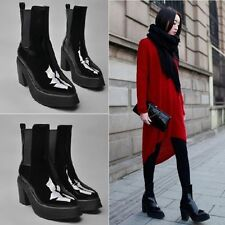 Womens Chic Patent Leather Stretchy Platform Block Chunky Heel Ankle Boots