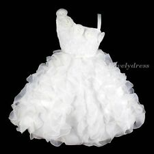 NW Flower Girl Princess Bridesmaid Wedding Pageant Party Dress White SZ 4-9 Q181