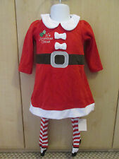 Baby Girl Xmas Santa Dress Outfit & Tights Age Newborn / 0-3M / 3-6M / 6-9M New