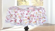 UK Stock Flower Printed Wipe Clean Tablecloth Vinyl PVC W/ Lace Round 180 cm 71""