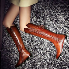 Womens/Girls Vintage real leather Cowboy Bootie flat long boots lace up stylish