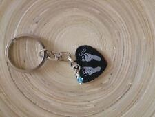 Personalised Engraved Stainless Steel Heart Keyring With Prints & Brith Stone