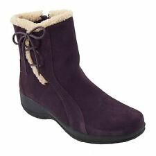 Clarks ANGIE MADI Q Womens Purple Suede Zip Water Resistant Warm Winter Boots