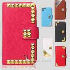 Colorful Punk Studs Wallet Leather Flip Case Cover for various Sony cell phone