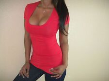 SEXY RED SCOOP NECK CLEAVAGE STRETCH CURVE HUGGING BASIC COMFY YOGA GYM SML TOP