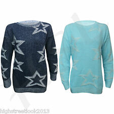 New Ladies Star Crew Neck Knitted Long sleeves Jumper Top Size 8-10-12-14 M L XL