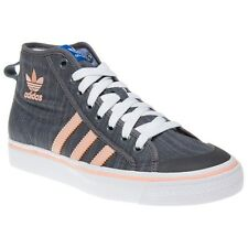 New Girls adidas Grey Nizza Hi Canvas Trainers Top Lace Up