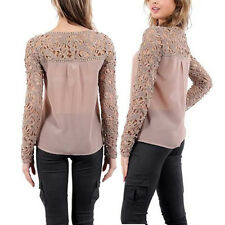 Womens Sexy Lace Crochet Embroidery Tops Chiffon Loose Long Sleeve Shirt Blouse