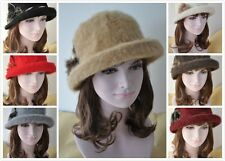 Women's Wool 1920s Soft Cloche Bucket Flower Church Hat/Cap (7 COLORS)