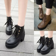 Womens High Chunky Heels Creepers Round Toe Lace Up Oxfords Casual Ankle Boots
