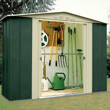 METAL APEX GARDEN SHED 8 X 3FT IN GREEN AND CREAM