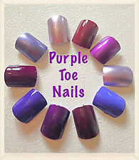 NEW~ 20 Hand Painted Plain Purple False Nails ~ Toe Nails