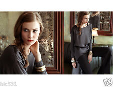 NWT VINCE LOOSE SILK FRONT KNIT BACK LONG SLEEVE CREW NECK TOP BLACK S M $275.00
