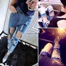 Women Vintage High Waist Destroyed Ripped Jeans Pants Casual Denim Hole Trousers