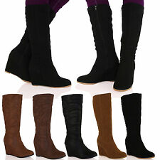 D7V Womens Mid Heel Wedge Riding Mid Calf Boots Zip Up Winter Ladies Shoes Size